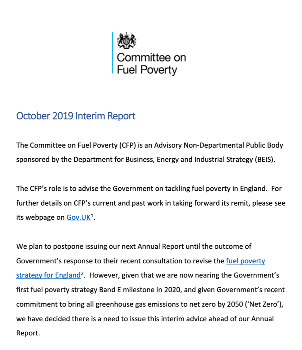 Coalition responds to Committee on Fuel Poverty Interim Report