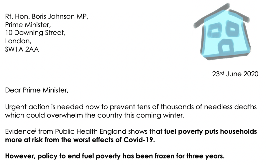 End Fuel Poverty Coalition writes to Prime Minister